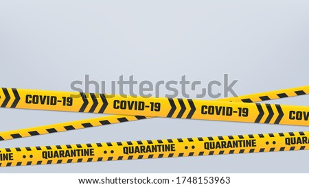 Covid-19 Quarantine stripes cordon or border, yellow tape. Warning cordon quarantine, prohibition and isolatio tape cause covid-2019 outbreak, 2019-ncov tape, vector illustration