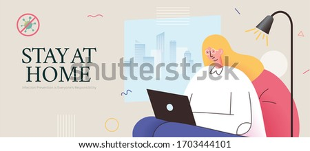 COVID-19 self-quarantine promotion banner in flat style, with a blonde girl sitting on sofa casually using laptop to prevent potential infection form outdoors.