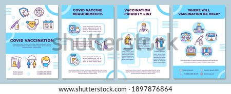 Covid vaccination brochure template. Requirements, priority list. Flyer, booklet, leaflet print, cover design with linear icons. Vector layouts for magazines, annual reports, advertising posters