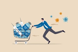 COVID-19 vaccine affordability, privilege or priority to access Coronavirus vaccine concept, wealthy man trying to buy expensive lot of vaccine bottles and syringe in shopping cart with virus pathogen