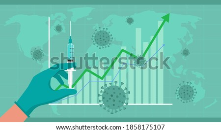 COVID-19 vaccine discovery impact on global economy and stock markets, doctor hand wearing medical glove holding syringe with needle shot, flat vector illustration