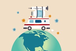 COVID-19 vaccine distribution worldwide after approval and ready to ship around the world to protect from Coronavirus concept, ambulance or medical truck carrying COVID-19 vaccine and syringe on globe