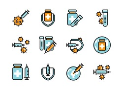 Covid-19 vaccine icon set colorline style.  Sign and symbol for websit, print, sticker, banner, poster.
