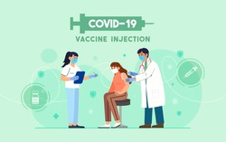 COVID-19 Vaccine injection vector illustration. A doctor injects a coronavirus vaccine to a patient on green background