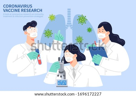 COVID-19 vaccine research concept in flat style, with one researcher holding test tube, one observing with microscope, and another keeping records to study the virus