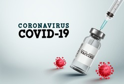 Covid-19 vaccine vector banner. Covid-19 vaccine bottle and injection syringe for coronavirus treatment and medical cure in white background Vector template.