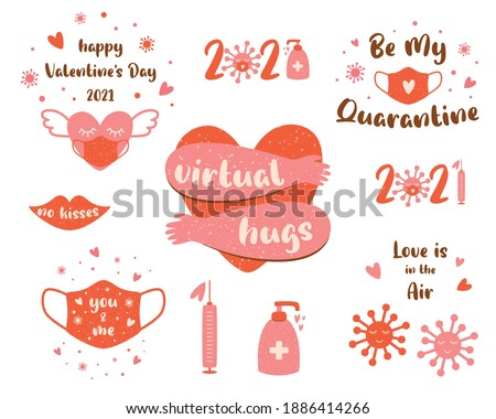 Covid Valentines day 2021 set pink elements Coronavirus Valentines day clipart. Heart, lmedical face mask, quarantine