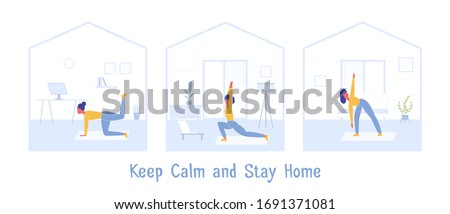 COVID-19 virus outbreak. Sport Exercise at Home. Fitness Workout Yoga Exercise Woman. People quarantine at home prevent spread of infection. Keep calm during quarantine Vector. Girl Doing Stretching