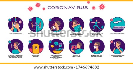 Covid-19 virus set of advice high contrast colourful colour blind safe illustration, different scenes for web, poster, hand washing, education, social distancing, wear mask, fever, mental health