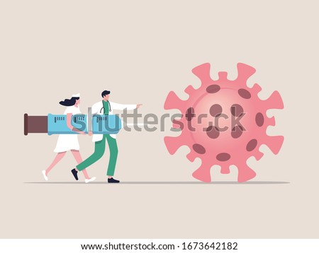 COVID-19 Virus Vaccine, syringe injection, prevention, immunization, cure and treatment for coronavirus infection, doctors carrying big syringe injecting COVID-19 Virus pathogen.
