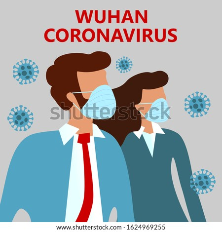 COVID-19 Wuhan Novel coronavirus (2019-nCoV),  woman and man in suit with blue medical face mask. Concept of coronavirus quarantine