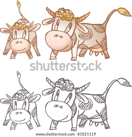 Cow and calf - stock vector