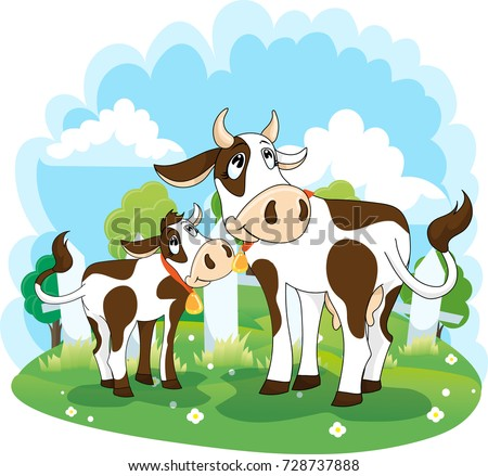Cow and calf, vector illustration