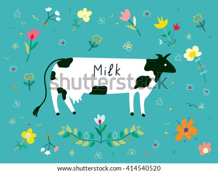 cow and flowers for the milk