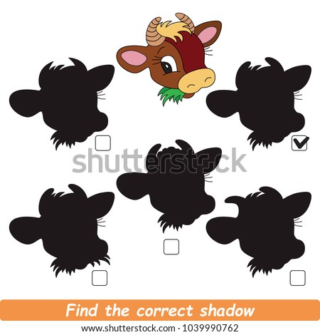 Cow Beautiful Shadow Set to Find the Correct Shadow, the Matching Educational Kid Game to Compare and Connect Objects and Their True Shadows, Simple Gaming Level for Preschool Kids.