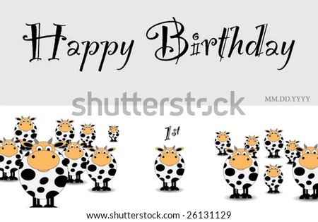 Cow Birthday Card Template
