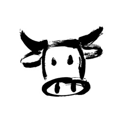 Cow, bull, ox hand drawn vector illustration. Ox, bull, cow on white background. Lunar horoscope sign ox, bull, cow. Chinese Happy new year 2021. Year of the ox. Lunar new year. Drawing ink bull, cow