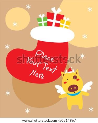 cow christmas greeting card