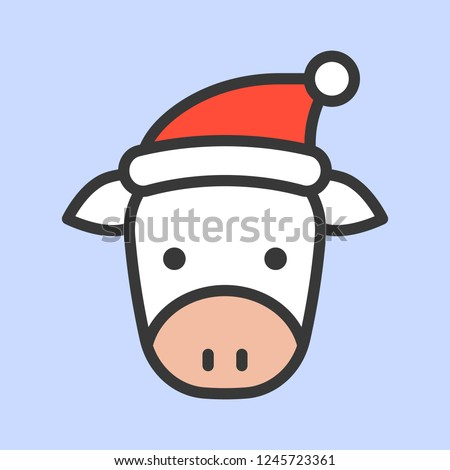 Cow face with Santa hat vector, filled style icon
