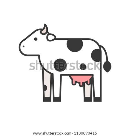 cow, farm animal icon set, filled outline design