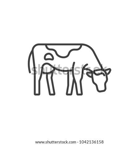 Cow, farm animal line icon.
