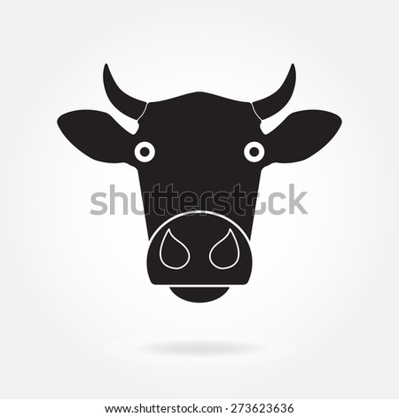 Cow head or face icon. Agriculture and farming concept. Vector illustration.