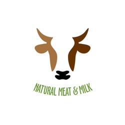 Cow head silhouette vector logo icon