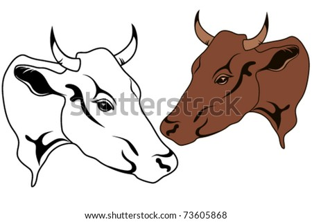 Cow Head Vector Illustration - Monochrome And Colorful - 73605868 ...