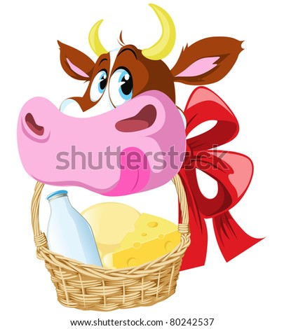 cow holding basket wit cheese and milk