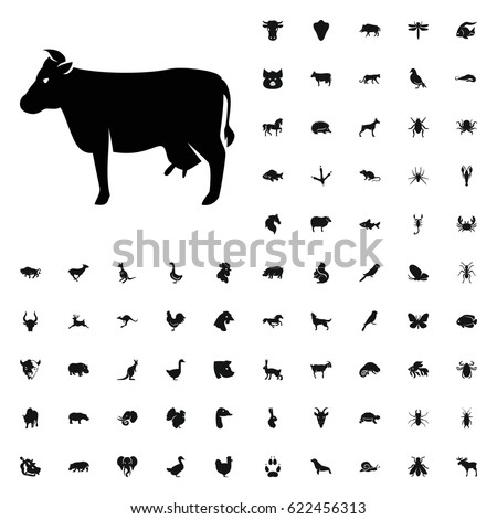 Cow icon illustration isolated vector sign symbol. animals icons vector set. on white background