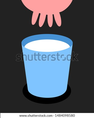 Cow is producing milk. Udder silhouette and white drink in the bucket. Vector illustration