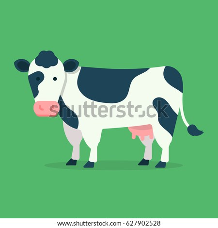 Cow isolated on green background. Vector illustration in cartoon flat design style Foto d'archivio ©