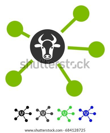 cow links flat vector pictogram