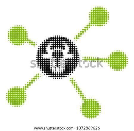cow links halftone vector icon