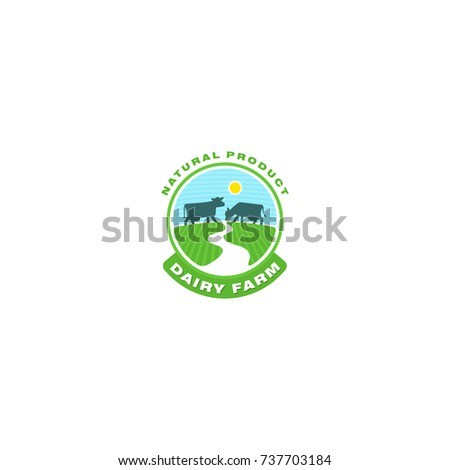 Cow logo. Farm milk emblem. Organic dairy product logo.