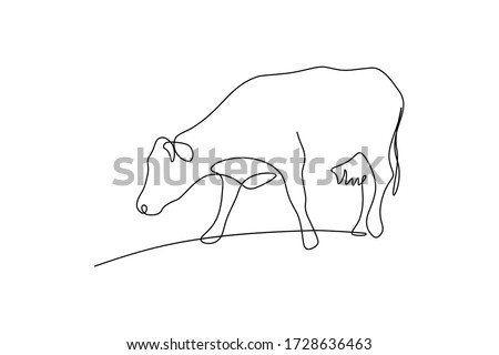 Cow on pasture in continuous line art drawing style. Grazing cow minimalist black linear sketch isolated on white background. Vector illustration Foto d'archivio ©