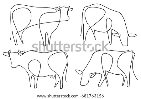 cow one line drawing