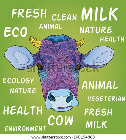 cow's head on green background with words - vector illustration