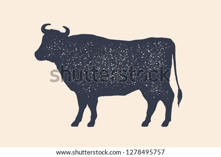 Cow, silhouette. Vintage logo, retro print, poster for Butchery meat shop, cow silhouette. Logo template for meat business, meat shop. Isolated black white silhouette cow. Vector Illustration