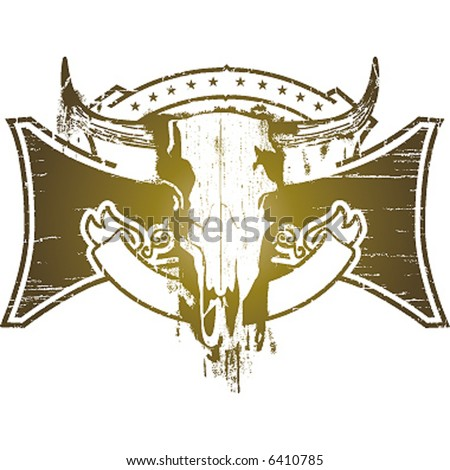stock vector : cow skull emblem
