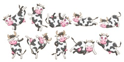 Cow vector set clipart design