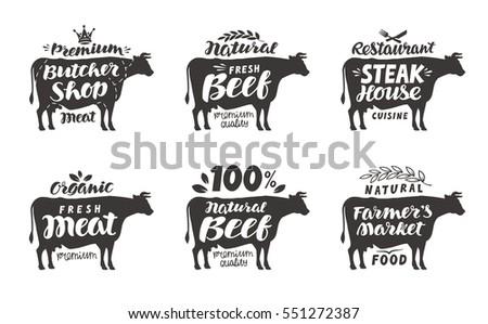 cow vector set food labels