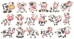 cow vector set graphic clipart design