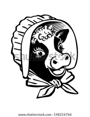 Cow With Prairie Bonnet - Retro Clip Art Illustration