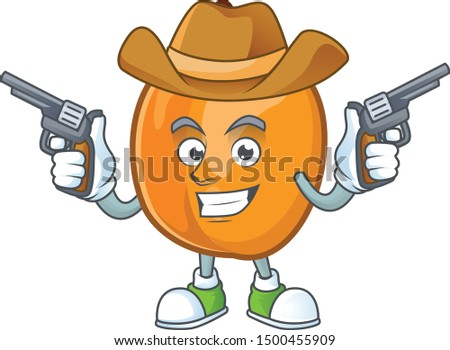 Cowboy apricot cartoon character for nutritious maskot