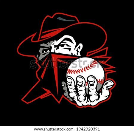 cowboy bandit baseball team mascot holding ball for school, college or league Photo stock ©