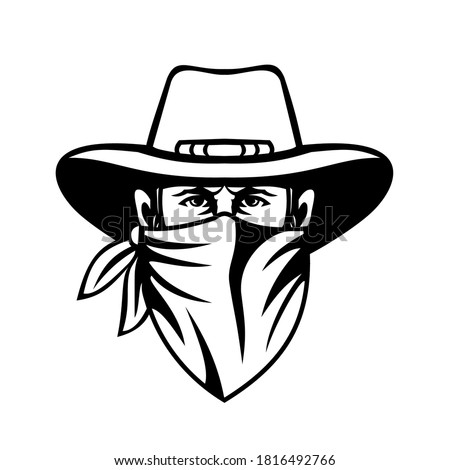 Cowboy Bandit Outlaw Highwayman or Bank Robber Wearing Face Mask Front View Mascot Black and White Foto d'archivio ©