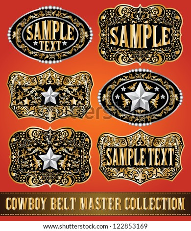 Cowboy belt buckle vector master collection set design