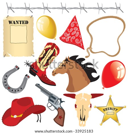 Cowboy Birthday Party Clip Art Stock Vector Illustration 33925183 ...