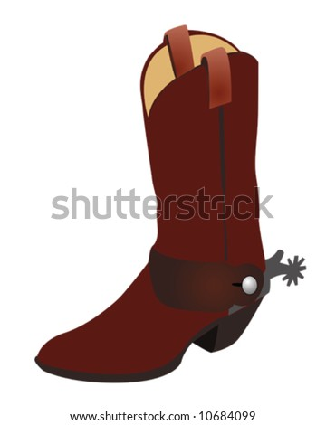 Cowboy Boot and Spur Illustration Vector